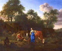 Shepherd and Shepherdess with Cattle by a Stream | Adriaen van de Velde | Oil Painting