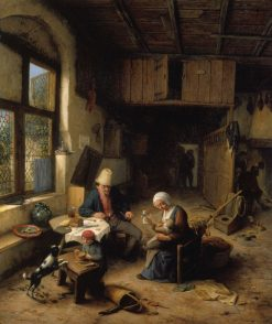 The Interior of a Peasant's Cottage | Adriaen van Ostade | Oil Painting