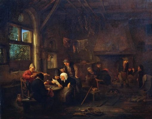 An Evening in a Tavern with a Fiddler   Adriaen van Ostade   Oil Painting