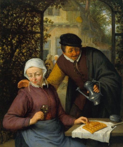 An Elderly Couple in an Arbour | Adriaen van Ostade | Oil Painting