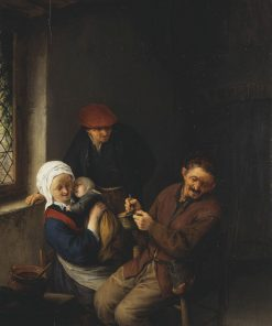 Interior of a Peasant's Cottage: A Child about to be Fed | Adriaen van Ostade | Oil Painting