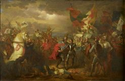 Edward III (1312-1377) with the Black Prince (1330-1376) after the Battle of Crecy (1346)   Benjamin West   Oil Painting