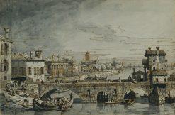 A Capriccio with the Ponte delle Navi in Verona | Bernardo Bellotto | Oil Painting