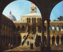 Venice: Caprice View of the Courtyard of the Doge's Palace with the Scala dei Giganti | Canaletto | Oil Painting