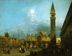 Venice: Piazza San Marco with the Basilica and Campanile   Canaletto   Oil Painting