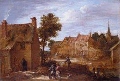 A Village Street   David Teniers II   Oil Painting