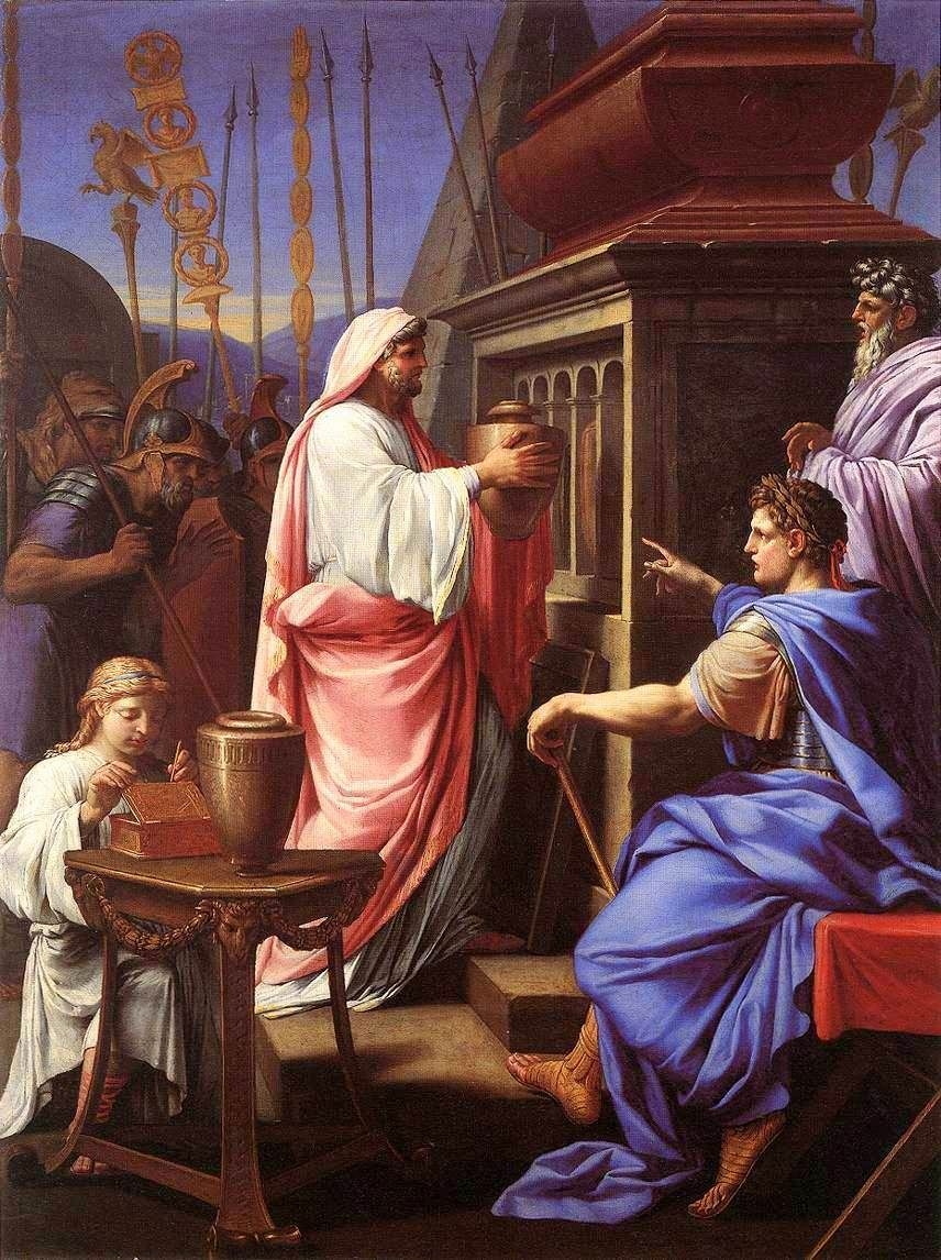 Caligula depositing the Ashes of his Mother and Brother in the Tomb of his Ancestors | Eustache Le Sueur | Oil Painting