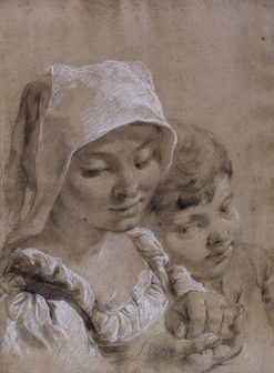 Head of a Boy and Girl in White Peasant's Cap | Giovanni Battista Piazzetta | Oil Painting