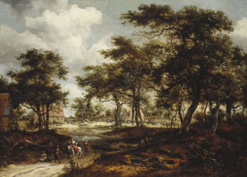 Wooded Landscape with Travellers and Beggars on a Road | Meindert Hobbema | Oil Painting