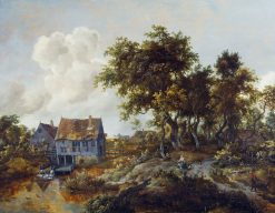 A Watermill beside a Woody Lane | Meindert Hobbema | Oil Painting