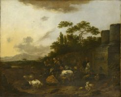 Landscape with Figures and Cattle Drinking at a Fountain | Nicolaes Berchem | Oil Painting