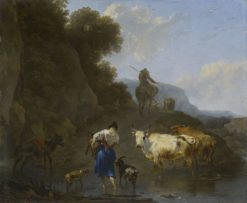 A Shepherdess Carrying a Kid across a Ford   Nicolaes Berchem   Oil Painting