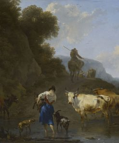 A Shepherdess Carrying a Kid across a Ford | Nicolaes Berchem | Oil Painting
