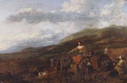 Gypsies and Their Flocks (detail)   Nicolaes Berchem   Oil Painting