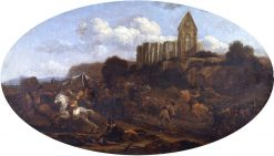 Troopers Plundering with a Ruined Church in the Background | Nicolaes Berchem | Oil Painting