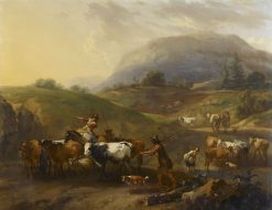 A Mountainous Landscape with Herdsmen Driving Cattle Down a Road | Nicolaes Berchem | Oil Painting