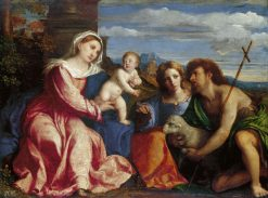 The Virgin and Child with Saints Catherine and John the Baptist | Palma il Vecchio | Oil Painting