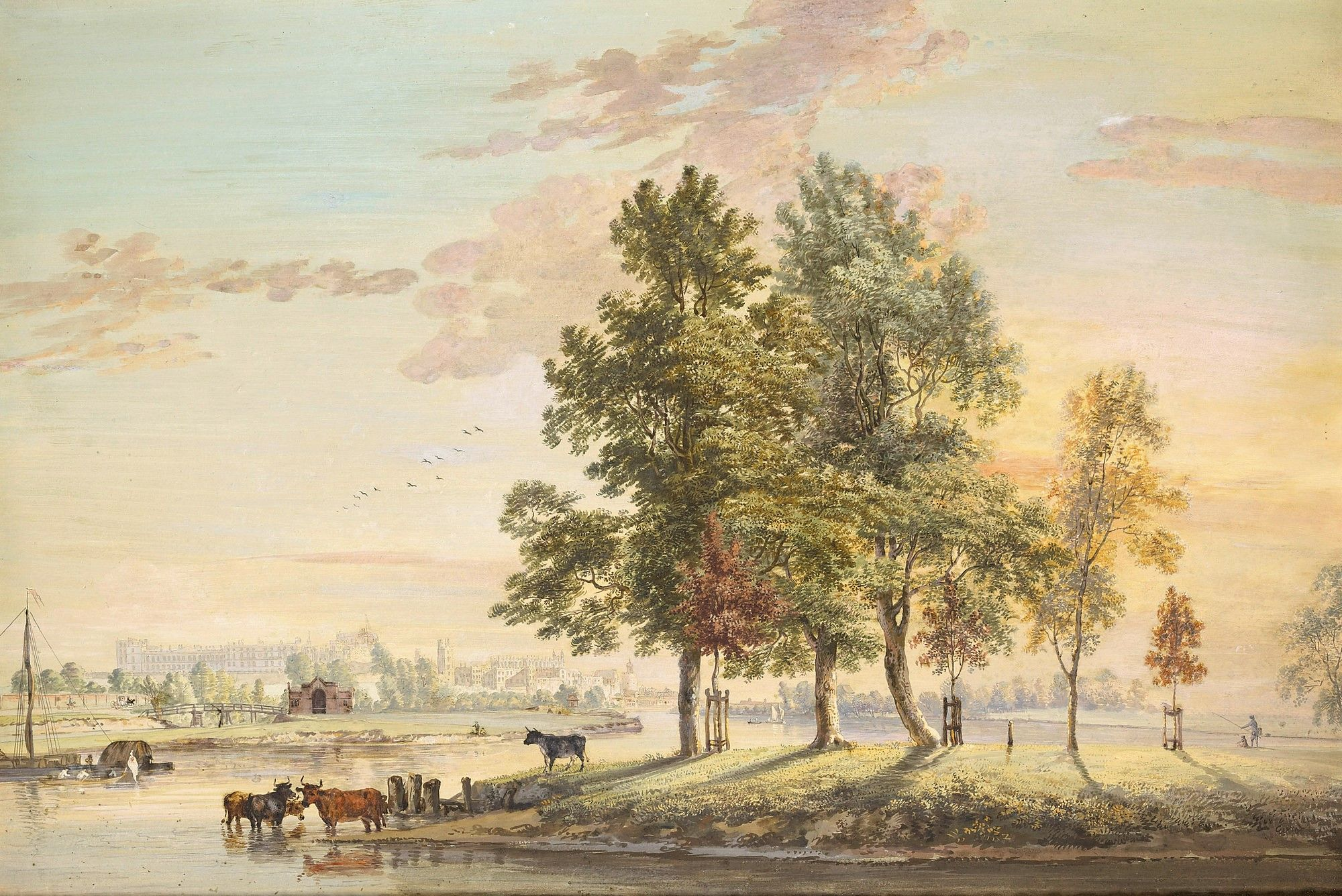 View from the Thames to north front of Windsor Castle   Paul Sandby