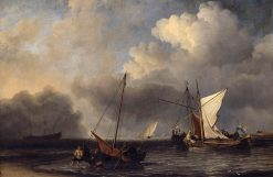 Vessels off the Dutch Coast in a Moderate Breeze | Willem van de Velde the Younger | Oil Painting
