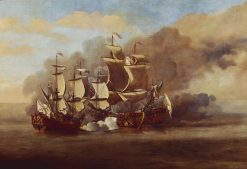 An English Indiaman Attacked by Three Spanish Privateers | Willem van de Velde the Younger | Oil Painting