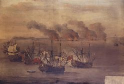 The Destroying of Six Barbary Ships near the Cape of Spartel | Willem van de Velde the Younger | Oil Painting