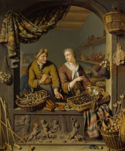 An Old Man and a Girl at a Vegetable and Fish Stall | Willem van Mieris | Oil Painting