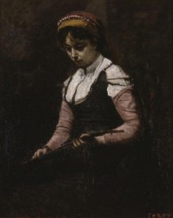 Girl with Mandolin | Jean Baptiste Camille Corot | Oil Painting