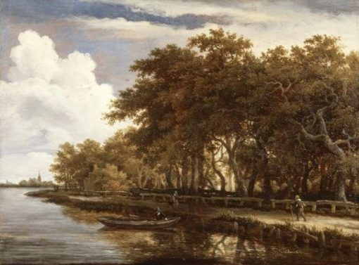 View along the Amstel   Meindert Hobbema   Oil Painting