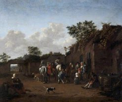 Horses being Saddled in the Courtyard of an Inn | Dutch School th Century   Unknown | Oil Painting
