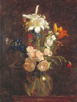 Roses and Lilies in a Glass Vase   Henri Fantin Latour   Oil Painting