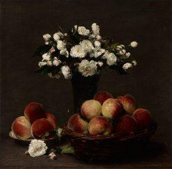 Peonies and Peaches   Henri Fantin Latour   Oil Painting