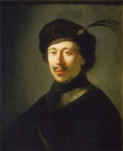 Young Man in Gorget and Plumed Cap | Rembrandt van Rijn | Oil Painting