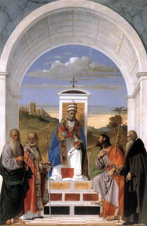 Saint Peter Enthroned with Four Saints   Marco Basaiti   Oil Painting