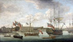 Launch at Deptford Dockyard | John Cleveley the Elder | Oil Painting