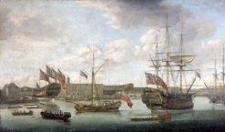 Launch at Deptford Dockyard | John Cleveley the Elder | Oil Painting