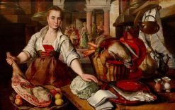 A Maid in the Kitchen with Christ and Mary and Martha in the Background | Joachim Beuckelaer | Oil Painting
