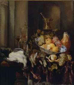 Banquet Still Life with a Self-Portrait in the Mortar Jug   Abraham van Beyeren   Oil Painting