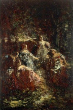 Elegant Ladies in a Forest Clearing | Adolphe Joseph Thomas Monticelli | Oil Painting