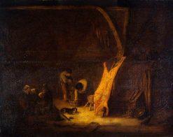 An Interior with a Pig's Carcass | Adriaen van Ostade | Oil Painting