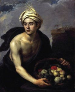 Young Man with a Basket of Fruit (Personification of Summer) | BartolomE Esteban Murillo | Oil Painting