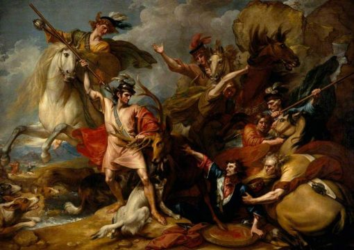 Alexander III of Scotland Rescued from the Fury of a Stag by the Intrepidity of Colonel Fitzgerald(also known as The Death of the Stag) | Benjamin West | Oil Painting