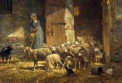 Leaving the Stall | Charles Emile Jacque | Oil Painting