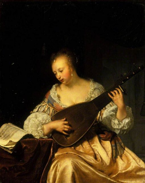 A Woman Playing a Lute   Frans van Mieris the Elder   Oil Painting