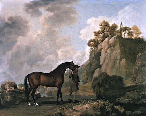 The Marquess of Rockingham's Arabian Stallion Led by a Groom through Creswell Crags | George Stubbs | Oil Painting