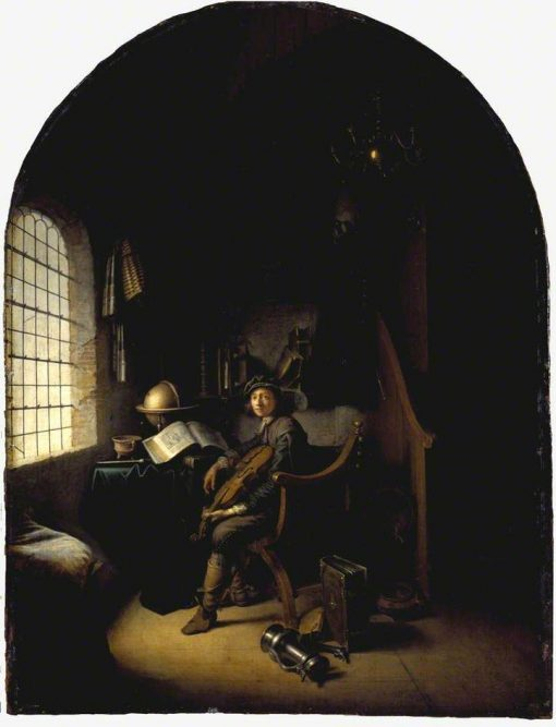An Interior with a Young Violinist | Gerrit Dou | Oil Painting