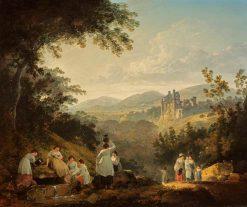 View of Rosslyn Castle from the Grounds of Sheriff Clerk (Mavisbank) | Julius Caesar Ibbetson | Oil Painting