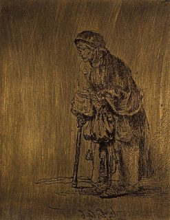 Beggar Woman leaning on a Stick | Rembrandt van Rijn | Oil Painting