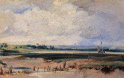 An Estuary with a Sailing Boat | Richard Parkes Bonington | Oil Painting