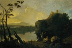 River Scene with a Castle and Figures | Richard Wilson