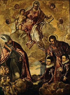 A Venetian Family Presented to the Virgin by Saint Lawrence and a Bishop Saint | Tintoretto | Oil Painting